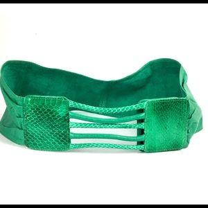 Vtg 80s Belt Green Snakeskin Leather Wide Waist